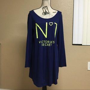victoria's secret night sleep shirt navy lime No 1